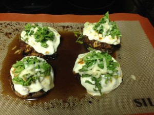 Portabella mushroom pizzas hit the spot on a cold January night.