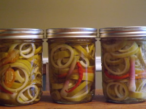 This year, I added some hot and sweet peppers to some jars, for visual interest and added flavor