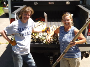 Karen and Kim display our harvest
