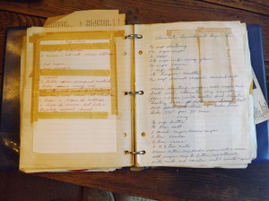 My grandmother's recipe notebook includes many handwritten recipes.