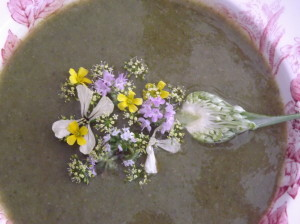 A garlic scape and other edible blossoms make a beautiful garnish for garlic soup.